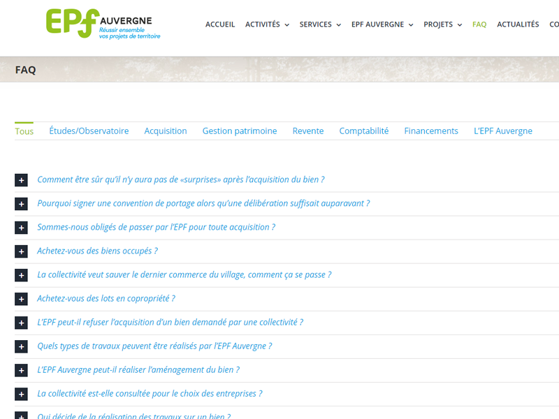 Page FAQ site Internet EPF Auvergne